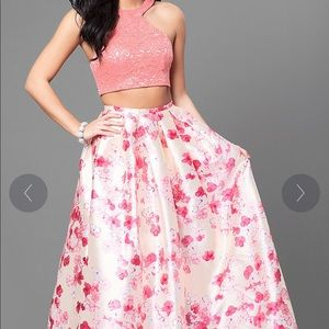 Lace Bodice Two-Piece Dress with Floral Skirt